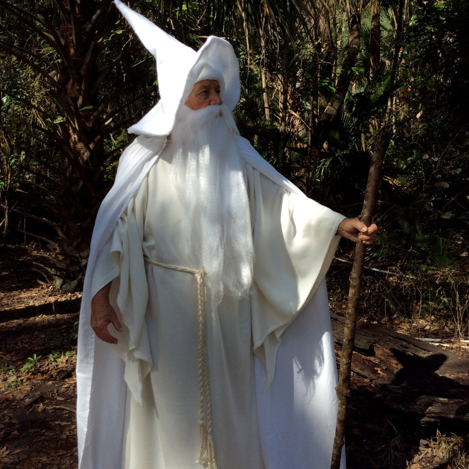 Robe And Wizard Hat: Gandalf The White Costume Flowing Hooded Cape Over Robe