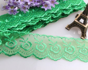 Lace DA25 trim 10yards ribbon floral embroidery