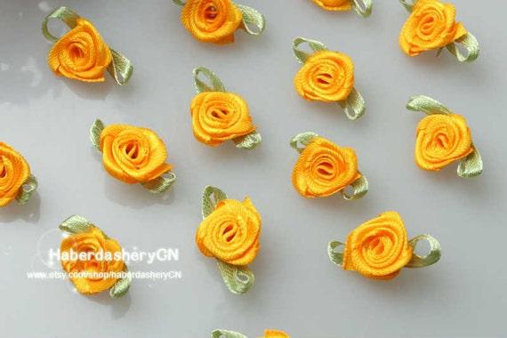 Lot DIY 40-50 mm 10-100PCS Satin Ribbon Rose Flower Appliques Wedding Decoration