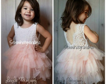 345e9df84e Blush Flower Girl, Tulle Dress, Pink Tutu, Cowgirl, Ballet Tutu,  Photography Dress, Ruffle Tulle, Birthday Dress