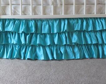 3 Sides Skirt, Teal Green Cotton Crib Skirt, Ariel Teal Jade Dust Ruffles, Mermaid, Peacock Nursery, Teal Baby, Green Nursery