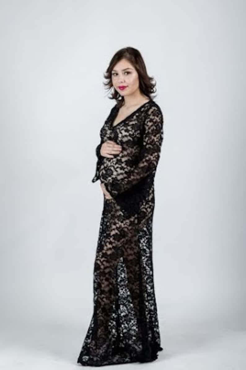 99e6b112d8f30 S or L Black Sheer Scallop Lace Bohemian Hippie Maternity | Etsy
