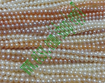 Top,5pcs full strand, 4-4.5mm,natural white/pink/pink lavender freshwater pearl necklace Strand,small freshwater pearl Beads String,eTs34