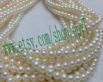 Top quality AAA+++,1pcs full strand,5-5.5mm, natural white freshwater pearl necklace Strand,freshwater pearl Beads String,eTs58