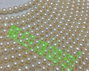 Top quality AAA+++,1pcs full strand,4.5-5mm, natural white freshwater pearl necklace Strand,freshwater pearl Beads String,eTfs14