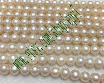1pcs full strand,6.5-7mm,natural white freshwater pearl necklace Strand,natural freshwater pearl Beads String,large freshwater pearl,eTs45