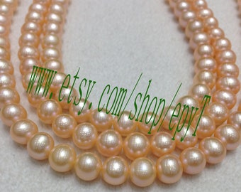 Top quality, 1pcs full strand, 9.5-10.5mm, natural pink freshwater pearl necklace Strand,freshwater pearl String,eTFs45