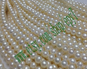 Top quality AAA+++,1piece full strand, 6-6.5mm, natural white freshwater pearl necklace Strand,freshwater pearl Beads String