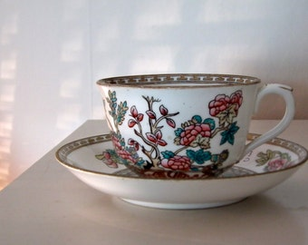 English, late 1800's to early 1900's Coalport Indian Tree China Cup and Saucer, for a Great Gatsby or Mad Hatter's Tea Party.