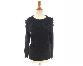 66cbf228e2 S Womens black sweater soutache minimalist goth size small 80s 1980s  clothing soutache romantic bohemian boho western feminine jumper