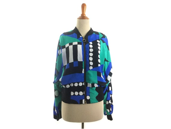 Pucci style jacket blue windbreaker green retro 19