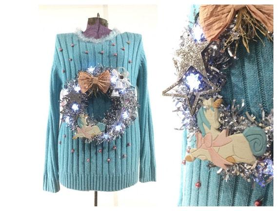 Unicorn sweater Ugly Christmas sweater womens larg