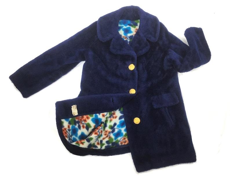 2fabc4036 L 60s Vintage Navy Blue faux fur coat with retro floral lining | Etsy