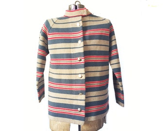 Christmas sweater, vintage sweater, 1960s sweater, ugly Christmas,  Women's cardigan, vintage clothing, stripe sweater