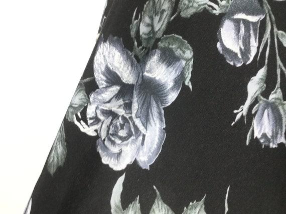 S 1980s does 1930s blue rose dress 30s Dark flora… - image 3