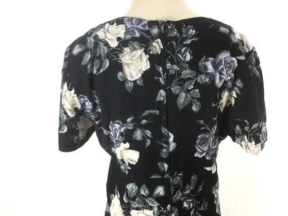 S 1980s does 1930s blue rose dress 30s Dark flora… - image 4