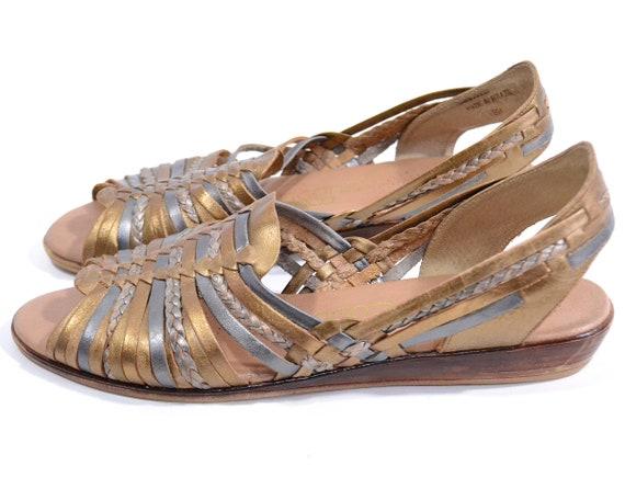 Size 9 gold huarache sandals comfort shoes Vintage
