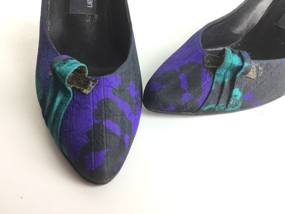 purple Stuart heels fabric blue evening size shoes teal shoes 80s 65 pumps shoes 1980s shoes blue Weitzman High heels formal BOdxOU0