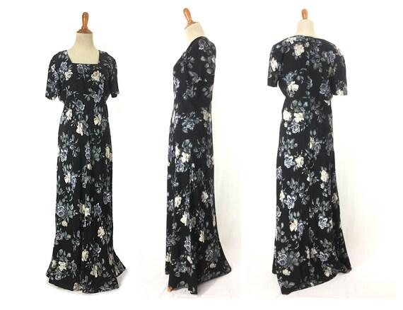 S 1980s does 1930s blue rose dress 30s Dark flora… - image 10