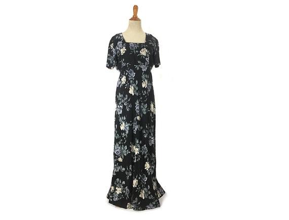 S 1980s does 1930s blue rose dress 30s Dark flora… - image 1
