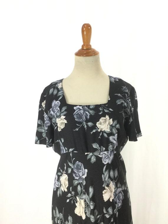 S 1980s does 1930s blue rose dress 30s Dark flora… - image 7