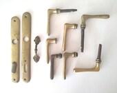 Antique Brass Door Handles - Door Backplates - Brass Drawer Handle - Pull Grab Handle - Rustic Decor