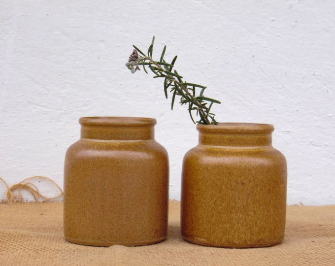 Set of Two Mustard Jars Stoneware Kitchen Canisters | Etsy
