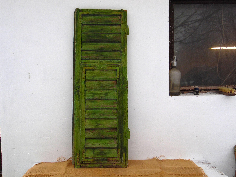 Antique Green Wood Window Shutters Primitive Country Rustic Farmhouse Decor