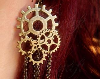 """Bronze tone cog gears """"Steampunk"""" earrings"""