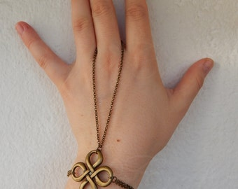 "Knot slave bracelet ""Clover"" in bronze tone - Celtic/Pagan/Fae/Fantasy/Goth style"