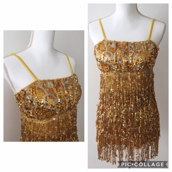 Vintage 1980's Gold Sequin Leotard - Dancers Dress