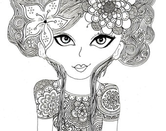 Girl with hair colouring page