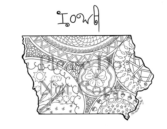 Iowa Map Colouring Page