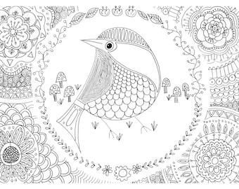 Pretty Birdie Zen Coloring Page