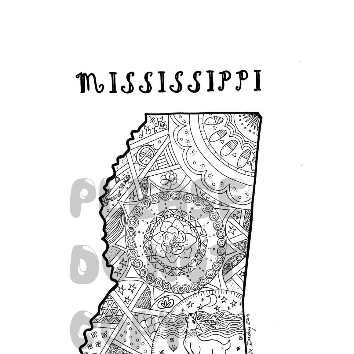 Mississippi State Map Outline.Mississippi State Colouring Page Etsy