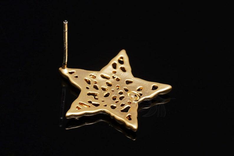 M1885-10 pairs-Matt Gold Plated-Mesh Star Earrings-Star Ear Post