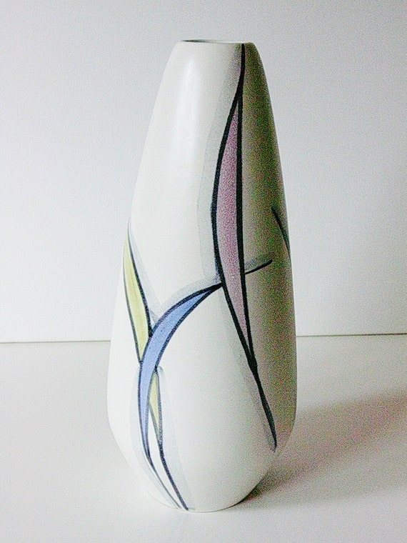 Rare Stützel-Sachs Art Pottery vase, hand painted and signed, Germany, on