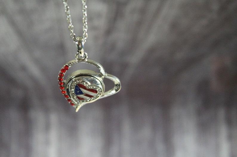 Puerto Rico flag rhinestone pendant necklace