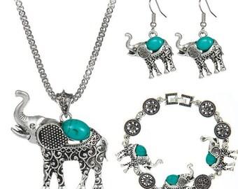 Boho style turquoise elephant jewelry set