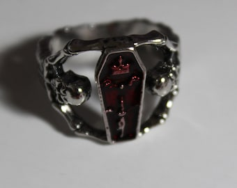 Skeleton and coffin ring ( size 8)