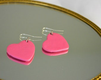 Valentines pink heart clay earrings