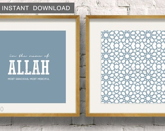 """Instant Download! In the name of Allah paired with a Moroccan Zillij pattern, Set of 2 Islamic Wall Art Print 5x5"""" to fit IKEA Ribba Frame"""