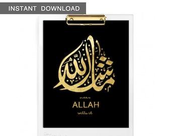 "Instant Download! Mashallah Calligraphy - 'as Allah wills it'. Islamic Art Print Design, 8x10"""