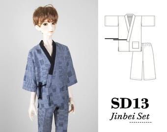 BJD kimono pdf sewing pattern, Sd13 clothes, Boy doll clothes, 1/3 ball jointed doll sd yukata