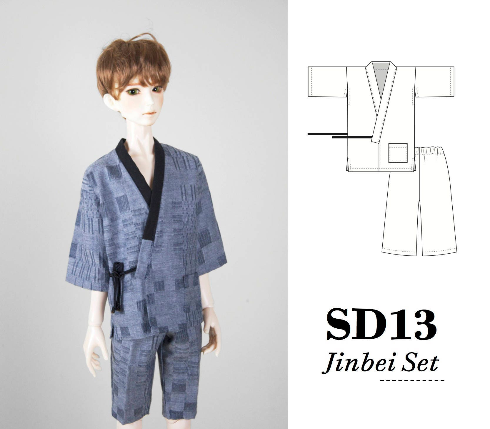 Muster Pdf für BJD SD13 1/4 Puppe Yukata Kimono einfach nähen