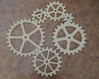 Large Wood Gear, 6 Gear Set, Wooden Cog, Sprocket, Steampunk, Modern Industrial, Americana, Foundry, decor, farm art, decoration