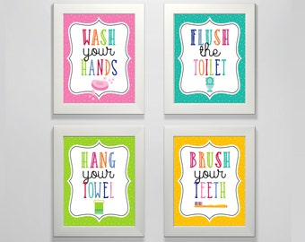 Kids Bathroom Decor Posters   PRINTED   Wash, Flush, Towel, Brush Your  Teeth, Bathroom Art, Kids Art, Gift, Cute, Lessons, Toilet, Restroom