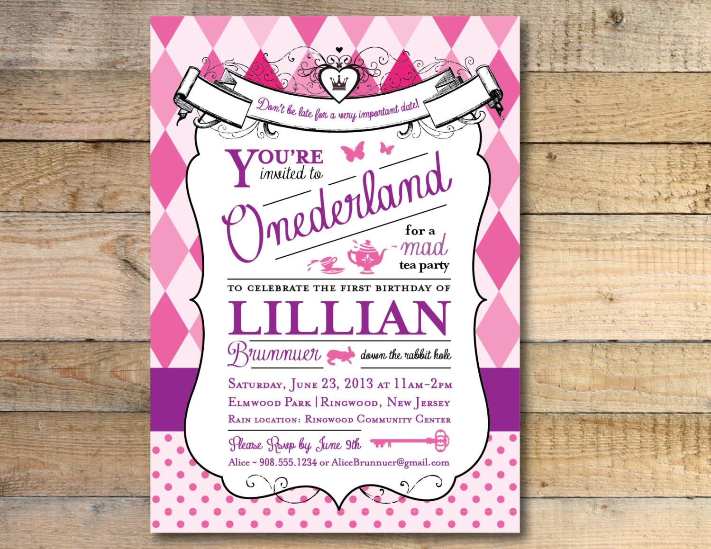 Alice in Wonderland Invitation 1st Birthday Party Pink &   Etsy