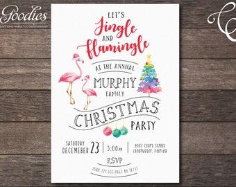 Jingle and Flamingle Christmas Party Invitation, Flamingo, Tropical Christmas, Mele Kalikimaka, Jingle and Mingle