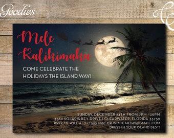 Christmas Party Invitation, Tropical Christmas, Mele Kalikimaka, Jingle and Mingle